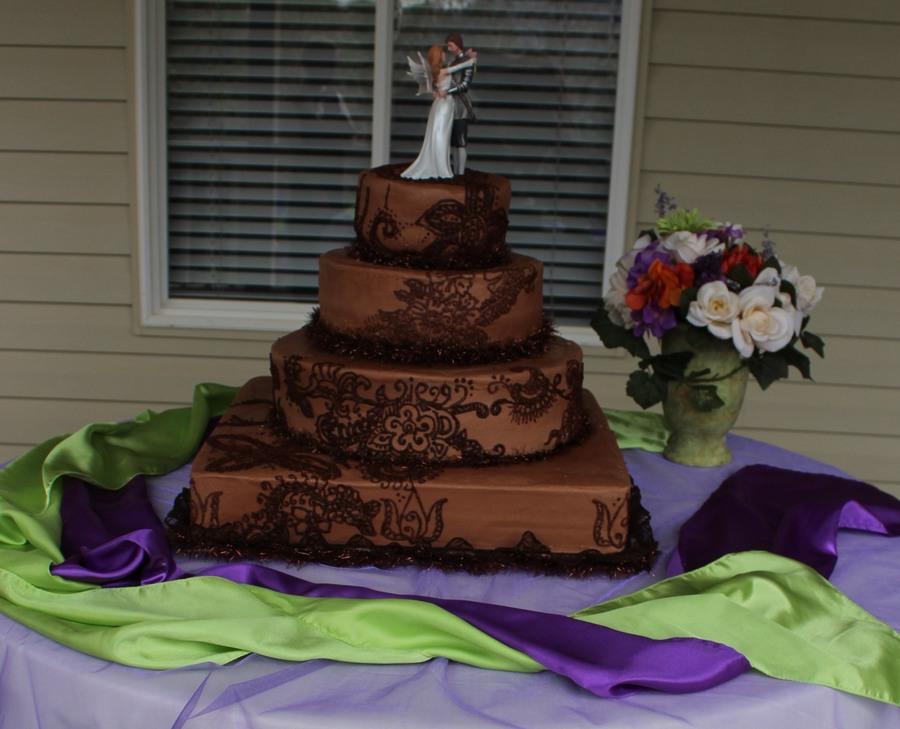 Henna Design Wedding Cake Done In Chocolate Buttercream 18 Square 14