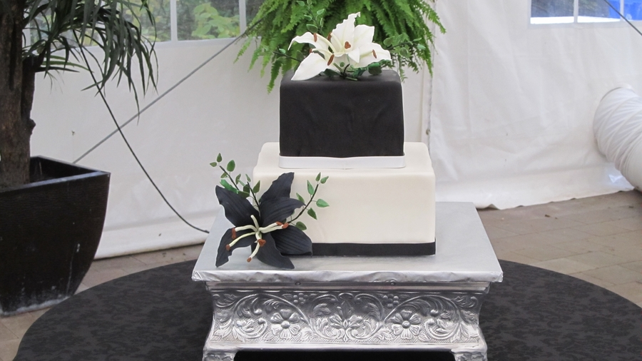 Black And White Square Wedding Cake on Cake Central