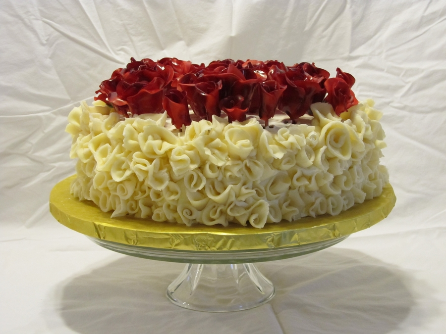 Ice Cream Cake With Chocolate Curls And Red Roses on Cake Central