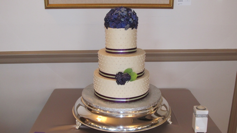 Purple Hydrangae Wedding Cake on Cake Central
