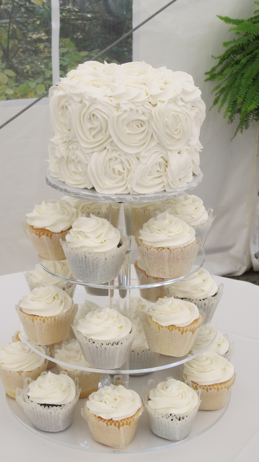 Rosette Wedding Cake on Cake Central