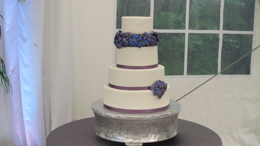 Purple And Blue Hydrangea Wedding Cake on Cake Central