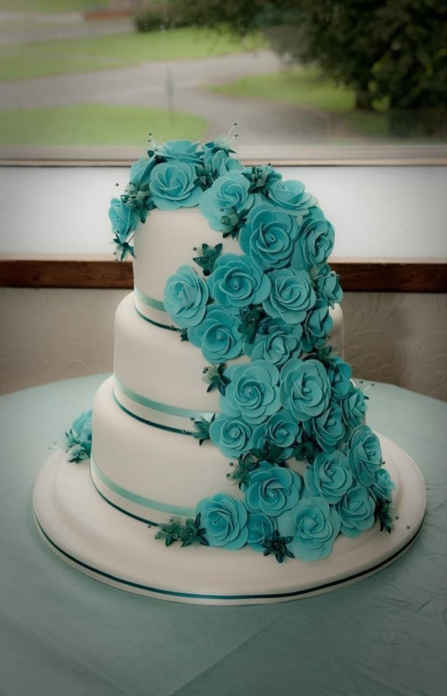 Teal Rose Wedding Cake on Cake Central
