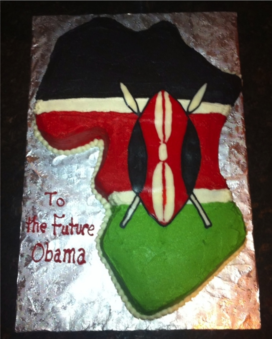 Map Of Africa Cake With Kenya Flag   CakeCentral.com