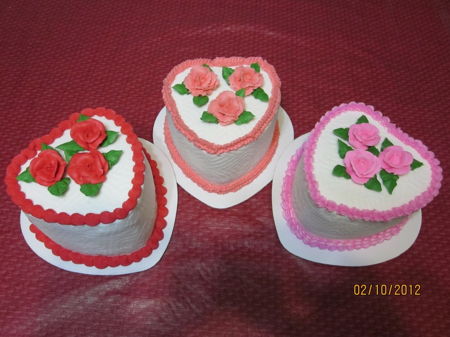 Three Little Heart Cakes  on Cake Central