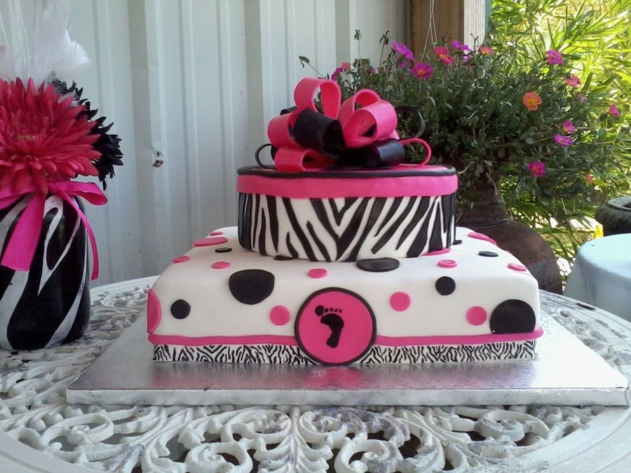 Zebra and polka dots baby shower cake for Animal print baby shower decoration ideas