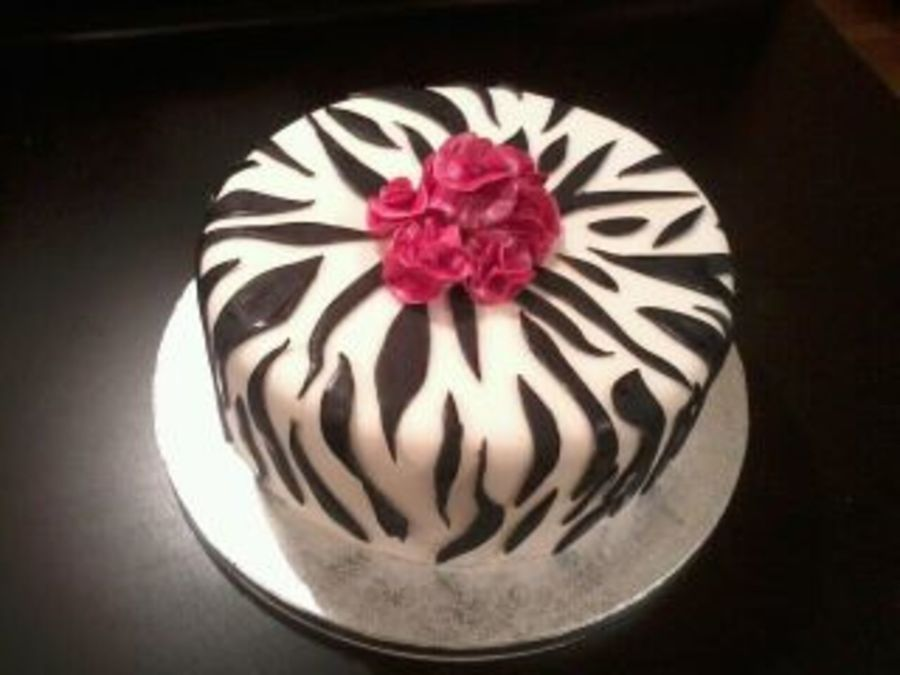 Zebra Print With Pink Carnation on Cake Central