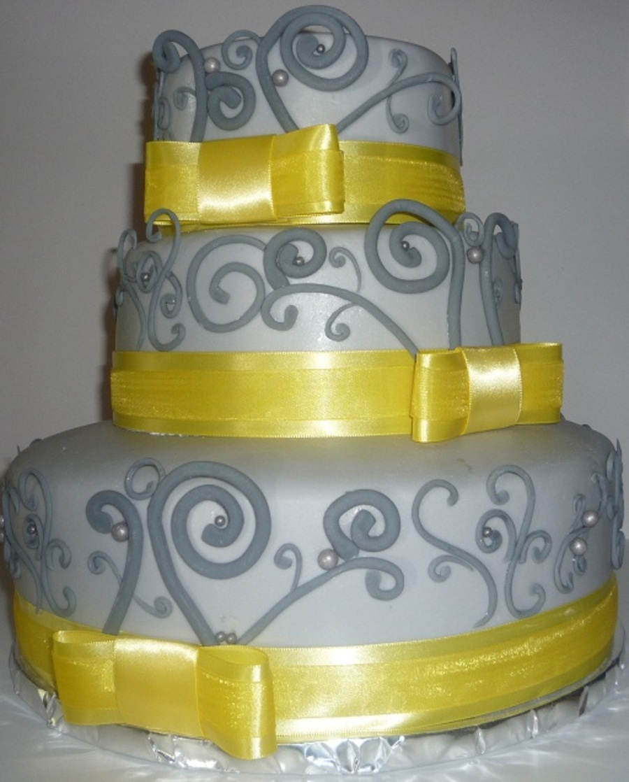 Vintage Scroll Wedding Cake  on Cake Central