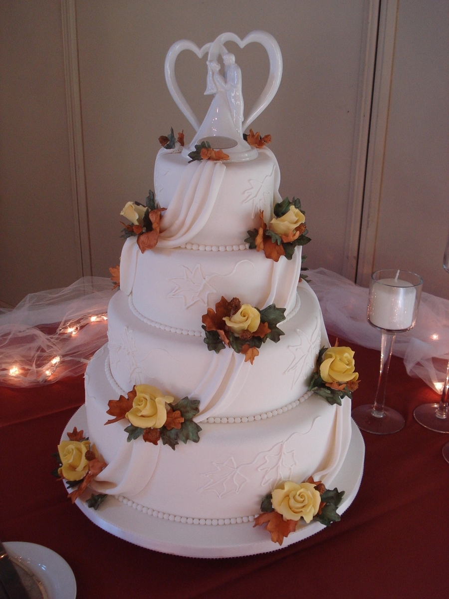 Fall Foliage Wedding Cake on Cake Central