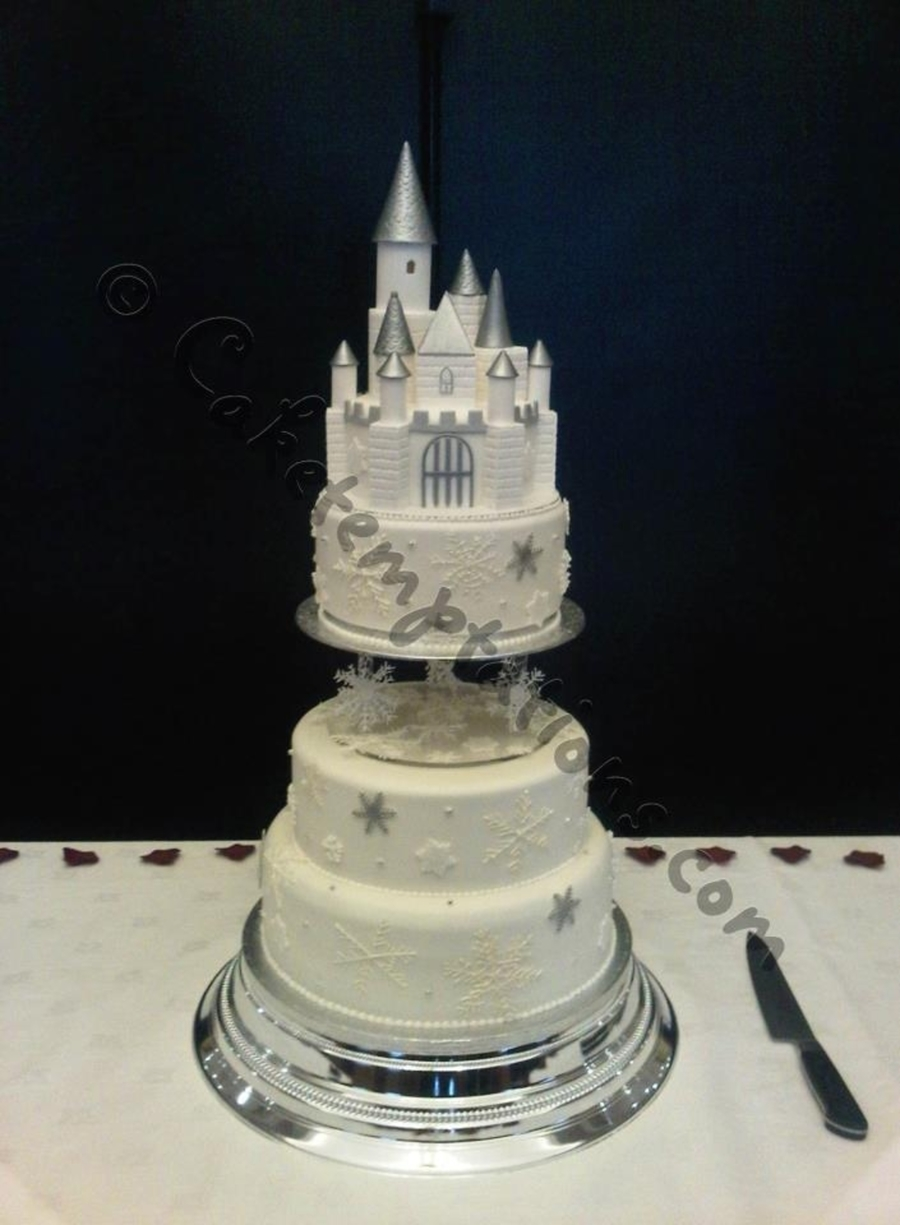 Snowflake Castle Wedding Cake  on Cake Central