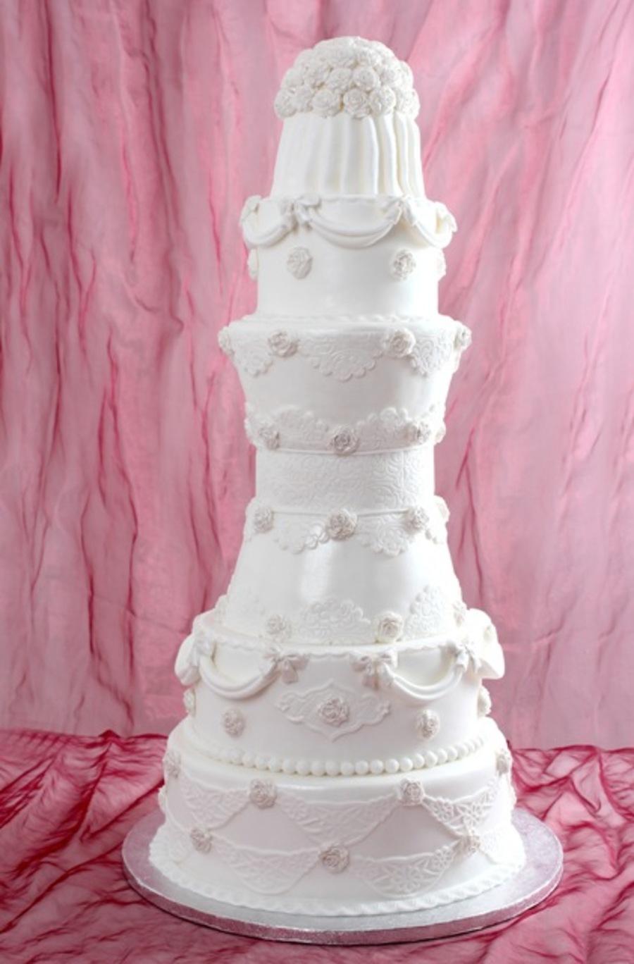 8 Layered White Wedding Cake - CakeCentral.com