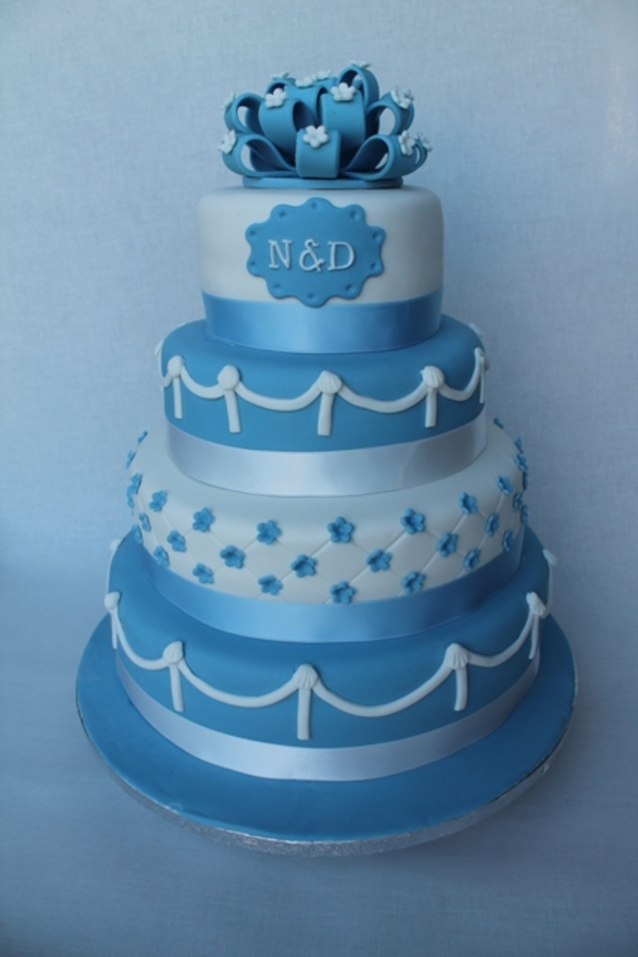 Blue And White Wedding Cake on Cake Central