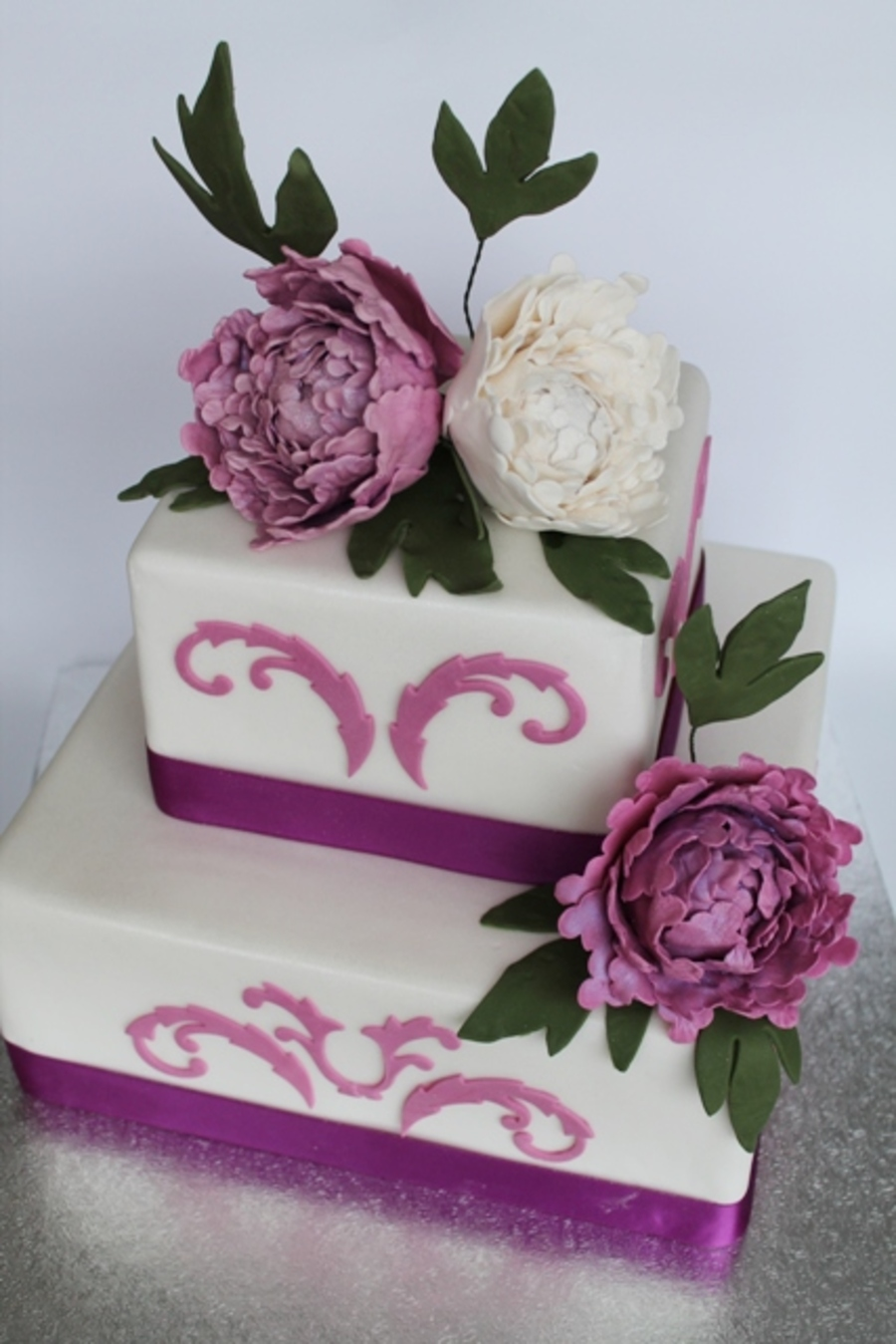 Square Wedding Cake White Purple Peony Rose on Cake Central
