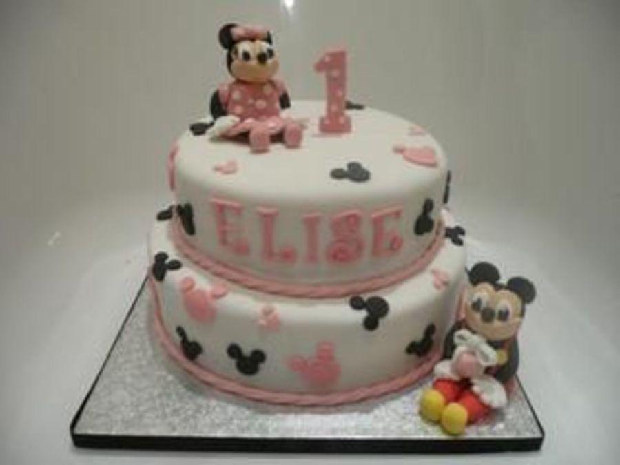 Enjoyable Minnie And Mickey Mouse First Birthday Cake Cakecentral Com Funny Birthday Cards Online Benoljebrpdamsfinfo