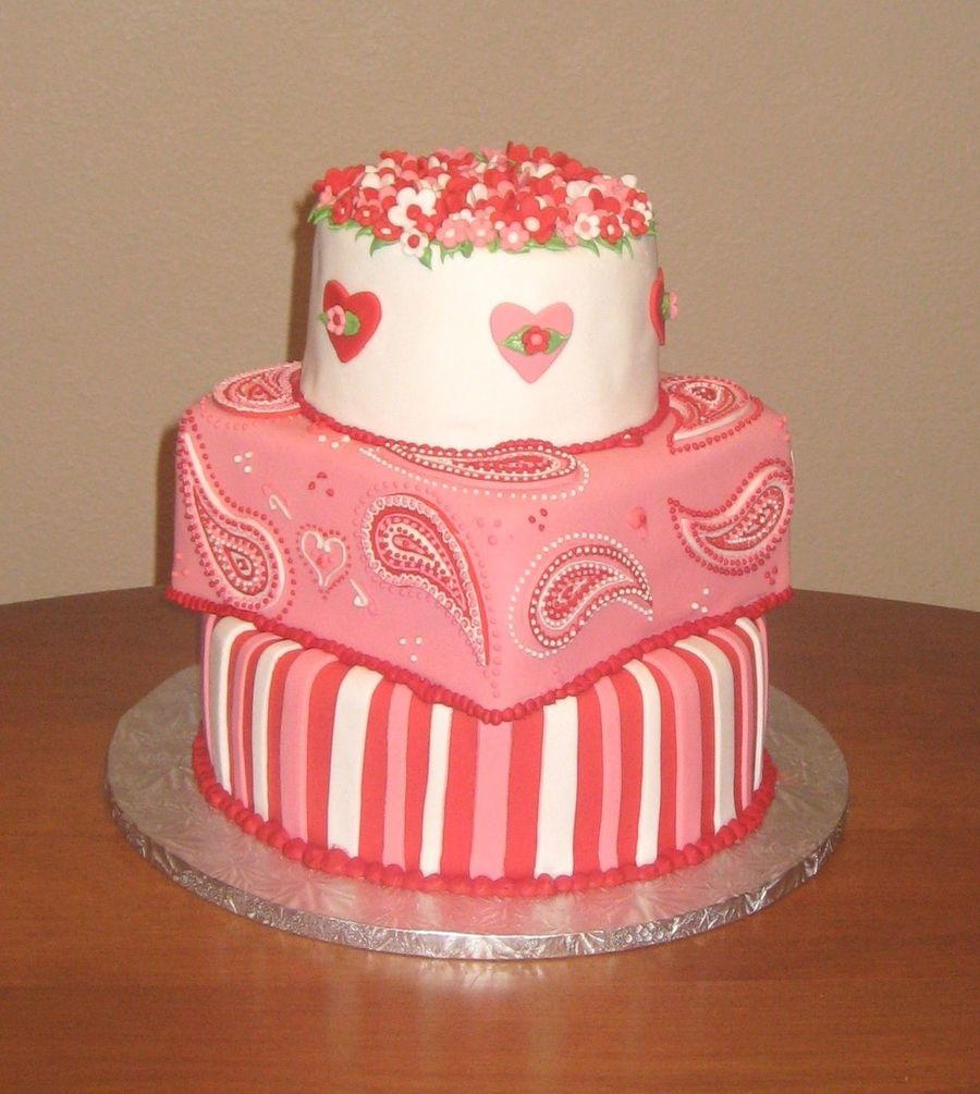 Valentine's Cake: Paisley, Stripes, And Flowers  on Cake Central