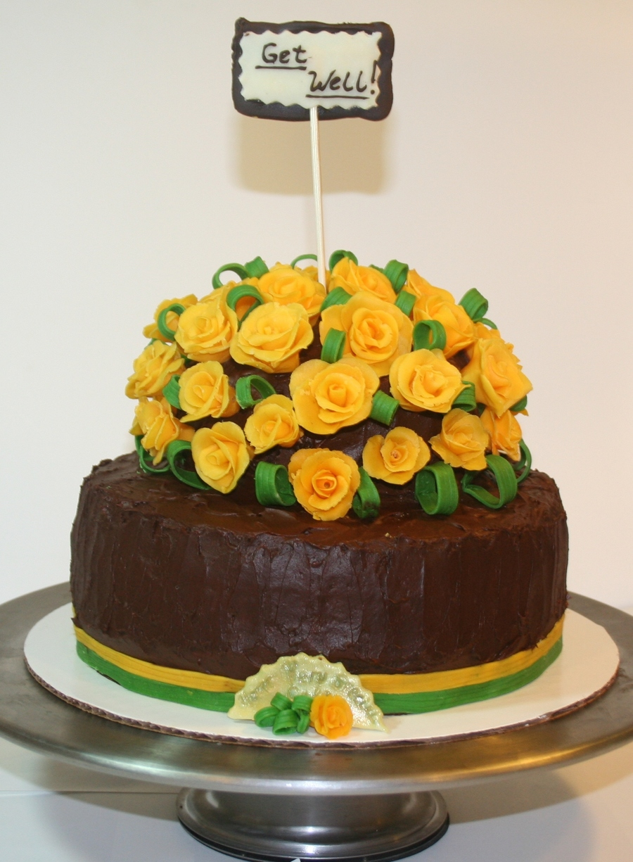 A Cake For A Friend Who Was Recovering From A Surgery Modeling Chocolate Yellow Roses Leaves And Ribbon on Cake Central