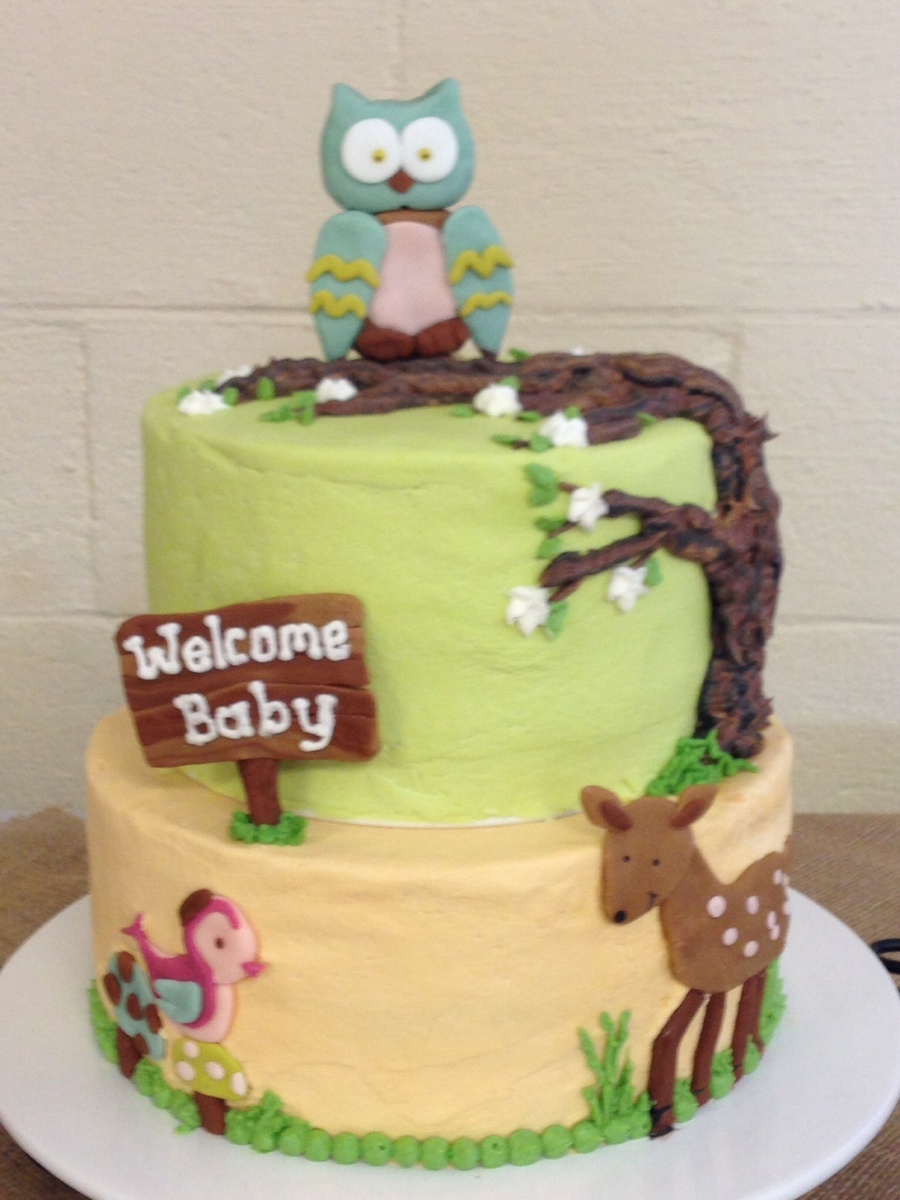 Woodland Animals Baby Shower Theme Cake Cakecentral Com