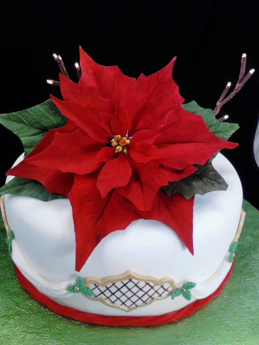 Gumpaste Poinsettia On Lighted Cake on Cake Central