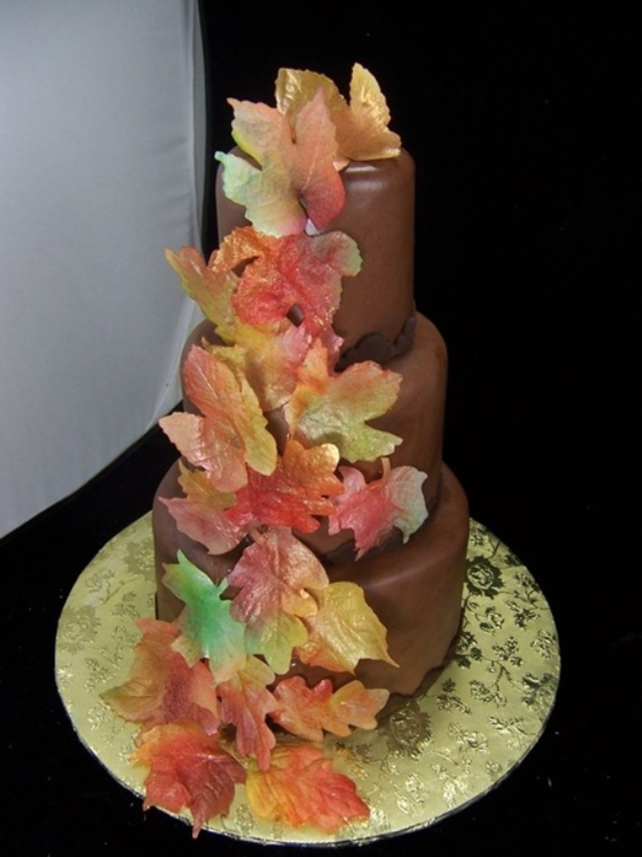 Wafer Paper Fall Leaf Wedding on Cake Central