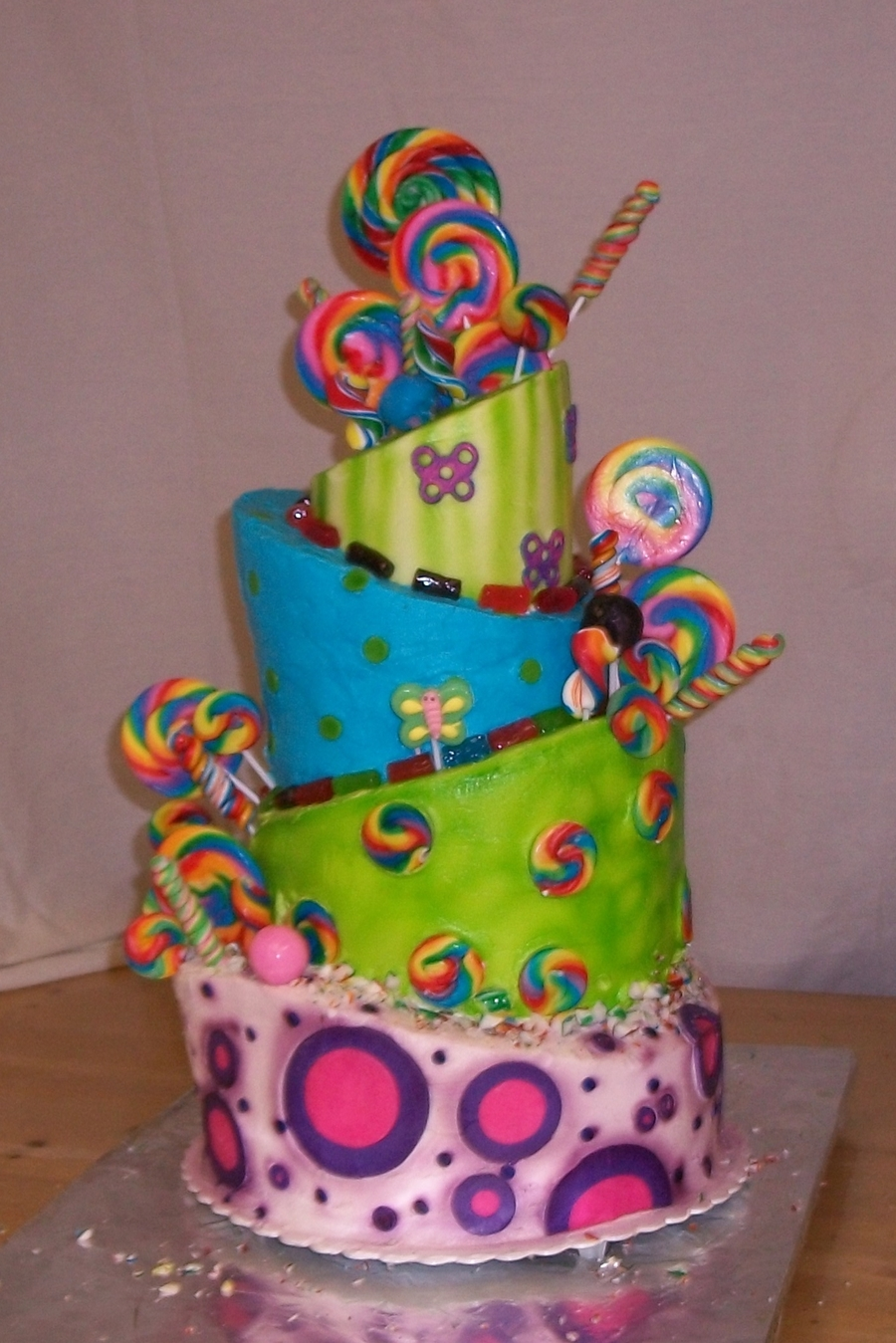 Topsy Turvy Lolly Pop Cake - CakeCentral.com