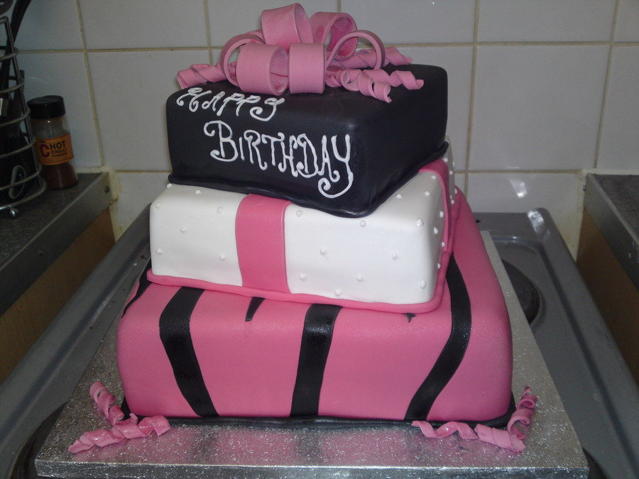 3 Tier Pink, White, Black Present Cake on Cake Central