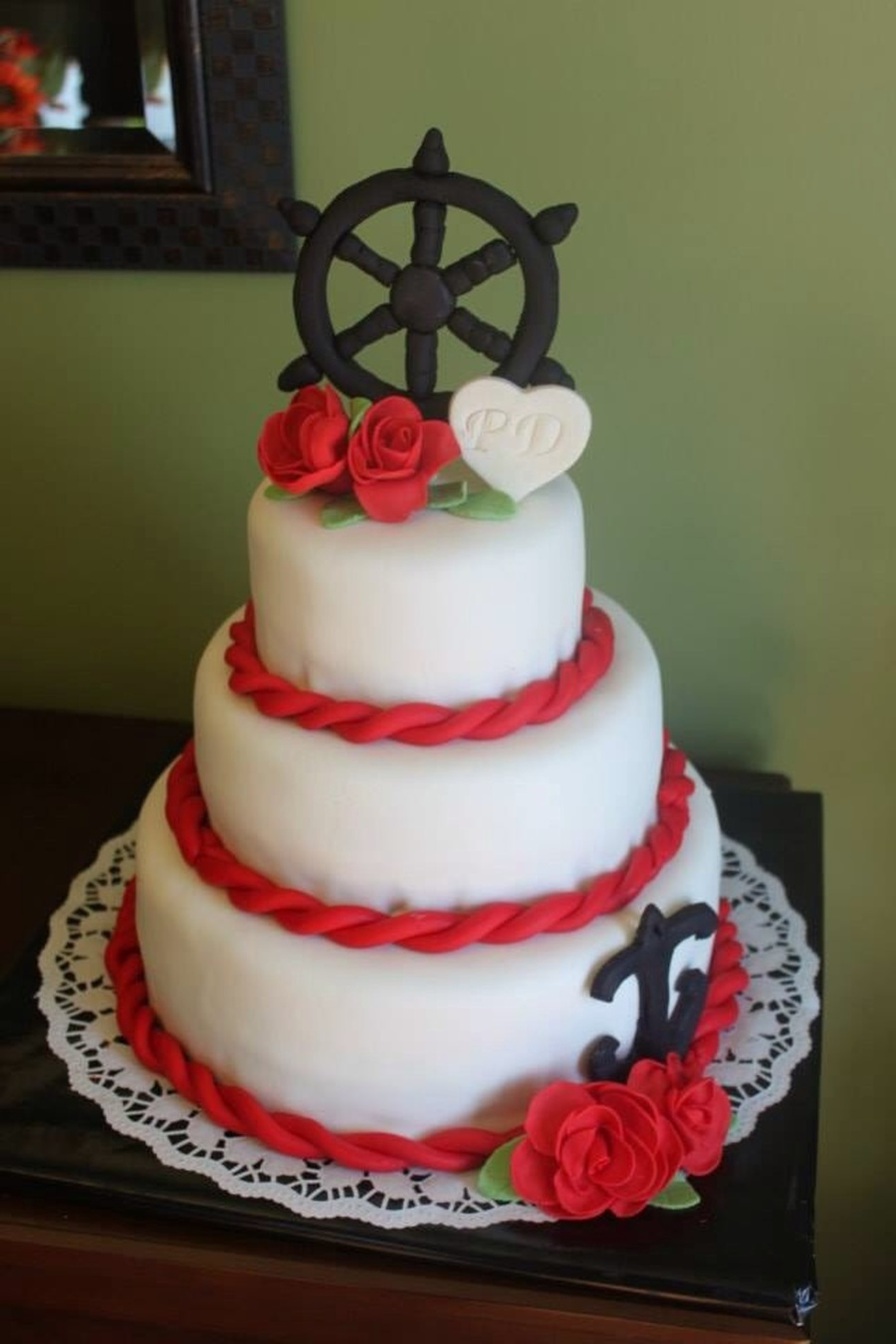 Nautical Red Black And White Wedding Cake Gum Paste Captains Wheel ...