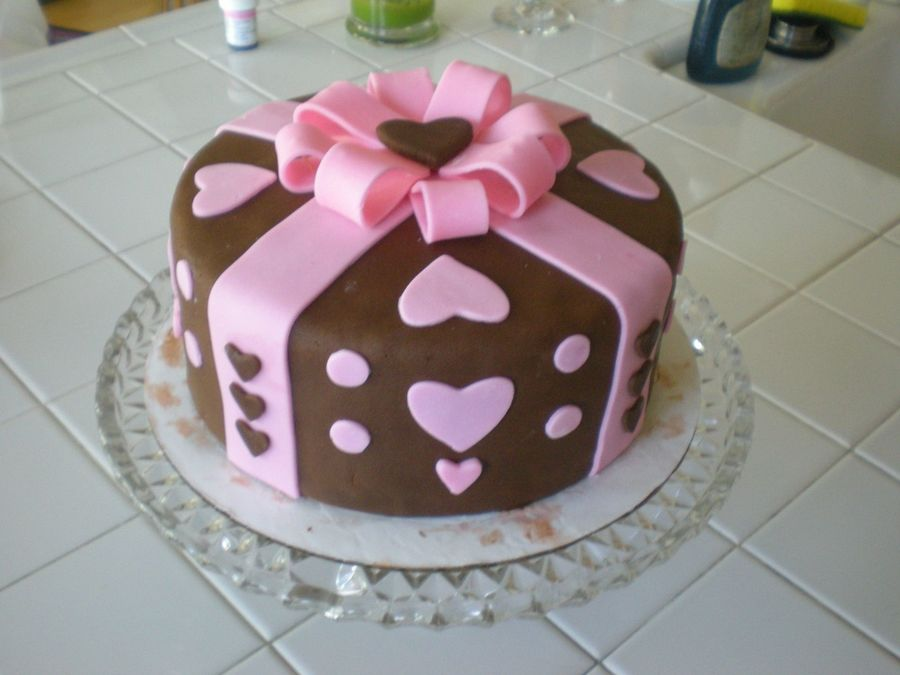 Brown & Pink Heart Cake on Cake Central