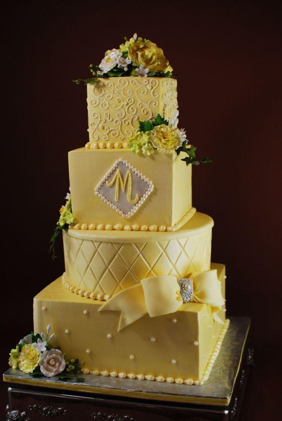 Sunshine And Buttercream Wedding Cake - CakeCentral.com