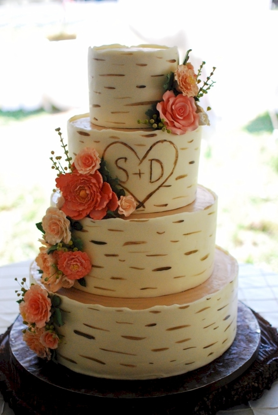 wedding cake that looks like tree bark birch wood grain wedding cake cakecentral 26249