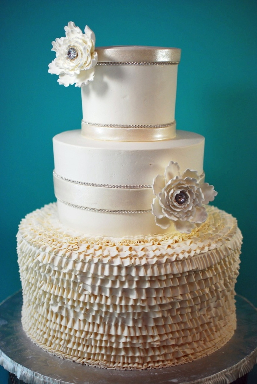 Buttercream Ruffle Wedding Cake  on Cake Central