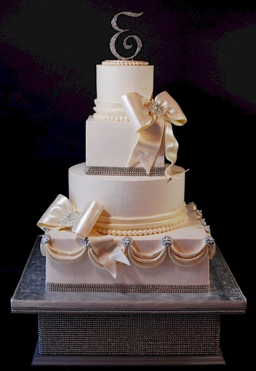 Super Bling Rhinestone Wedding Cake + Stand  on Cake Central