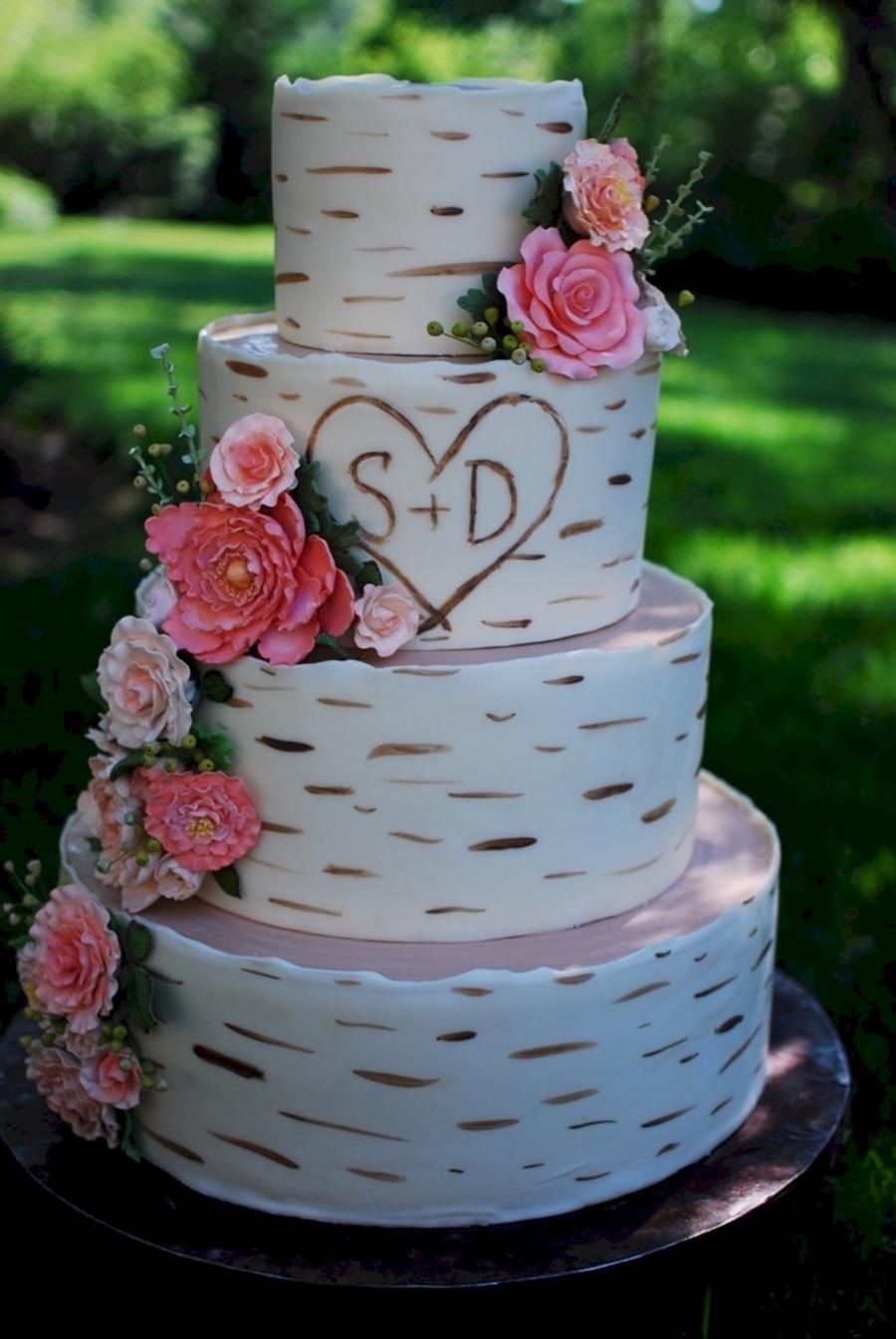 Naked Birch 3Tier Wedding Cake - CakeCentral.com