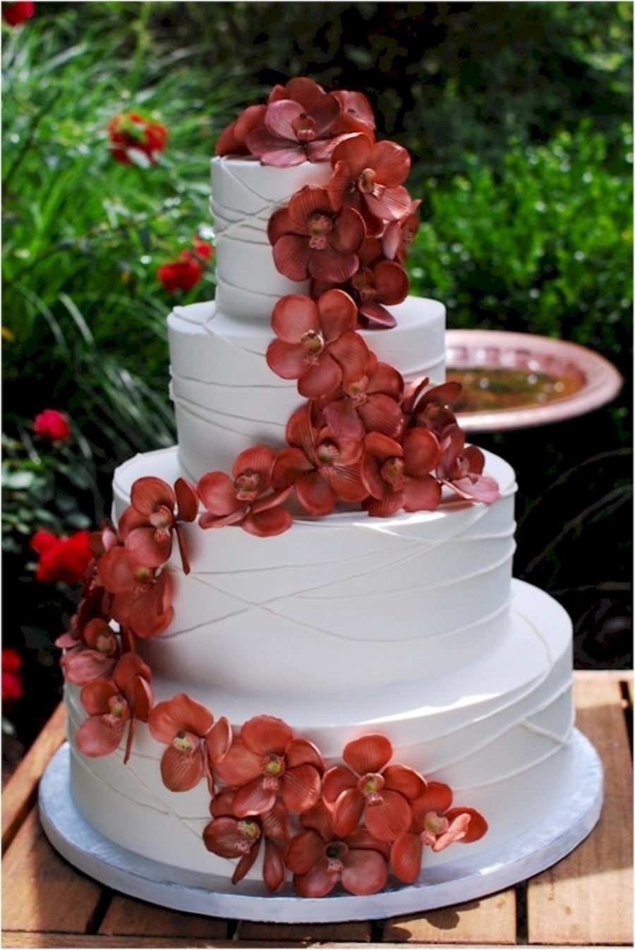 Copper Vanda Orchid Wedding Cake on Cake Central