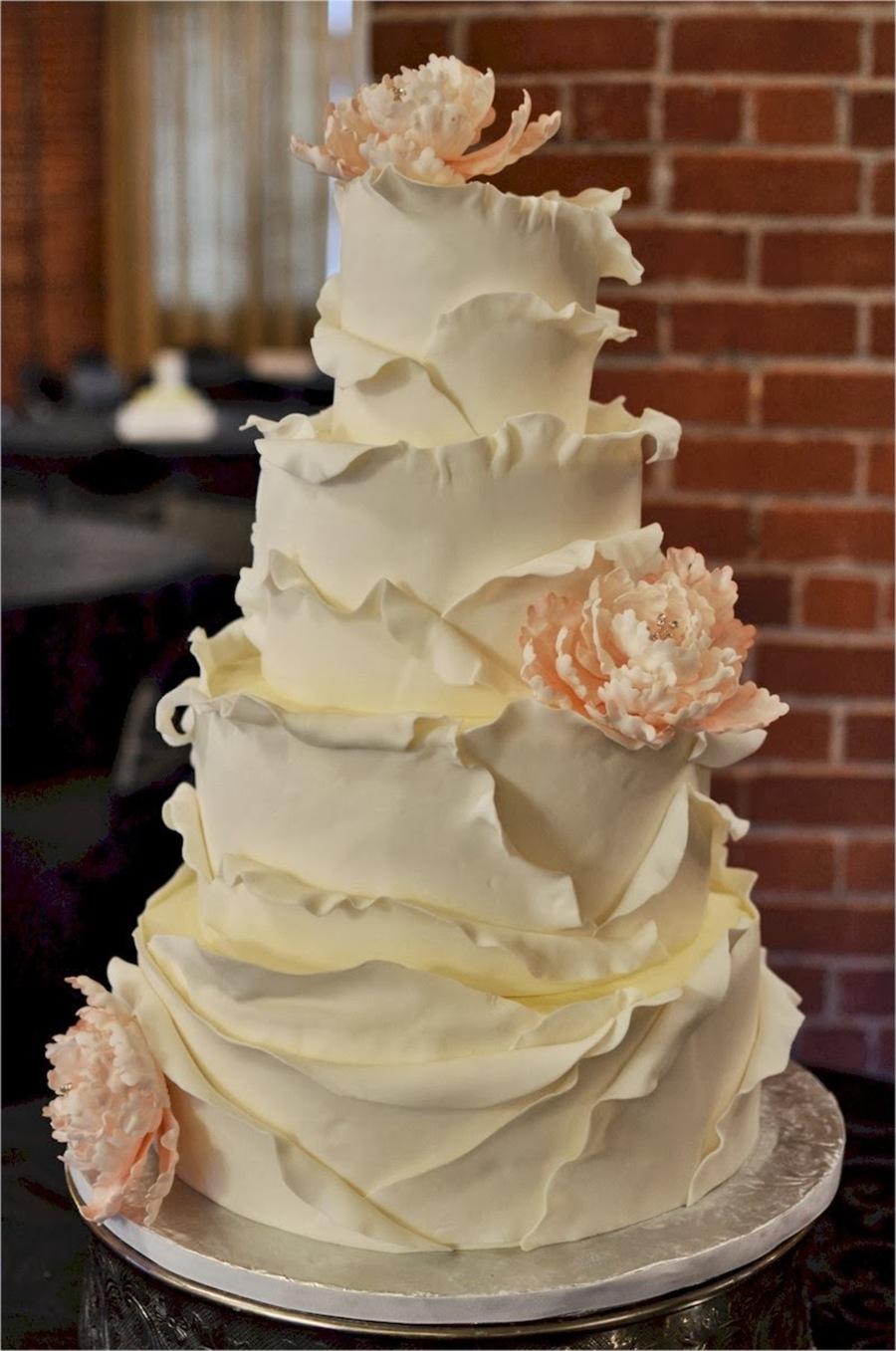 Curly Peony Wedding Cake CakeCentralcom - Peony Wedding Cake