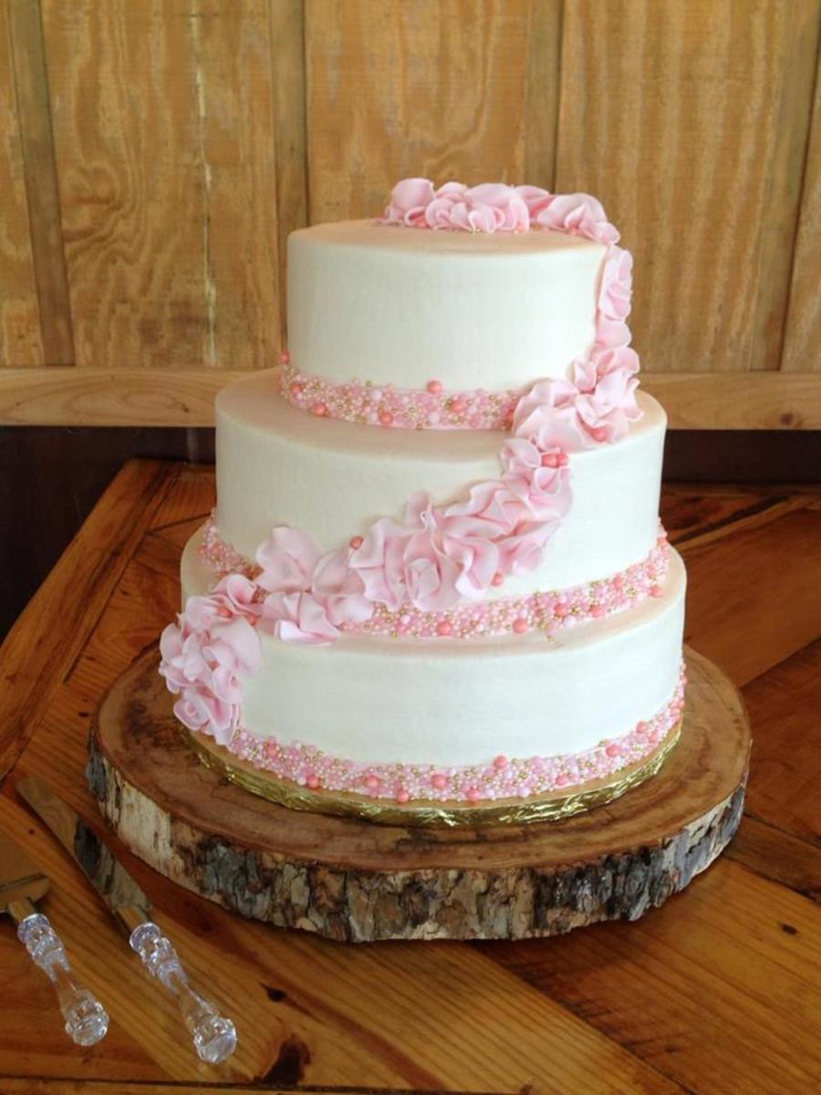 Buttercream With Fondant Ruffles And Pearls  on Cake Central