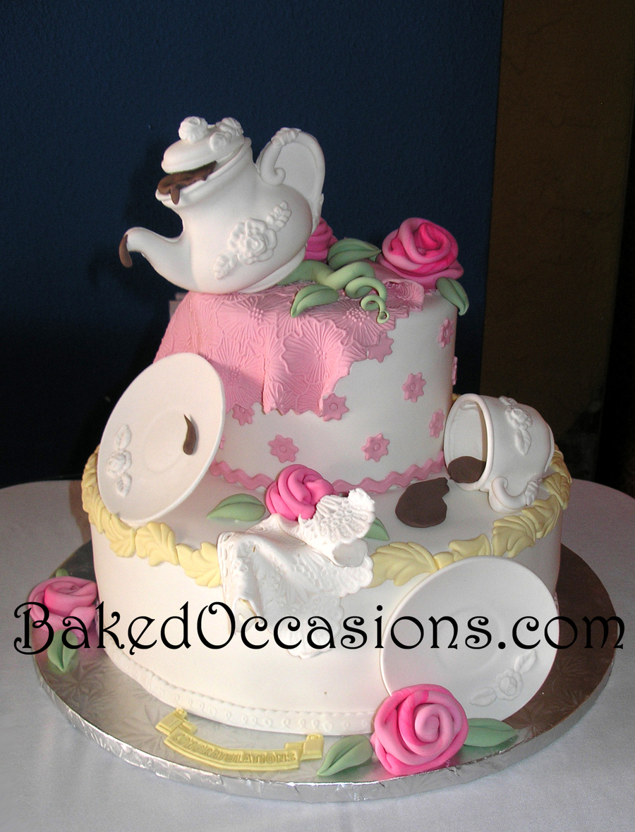 Tea Party Bridal Shower Cake on Cake Central