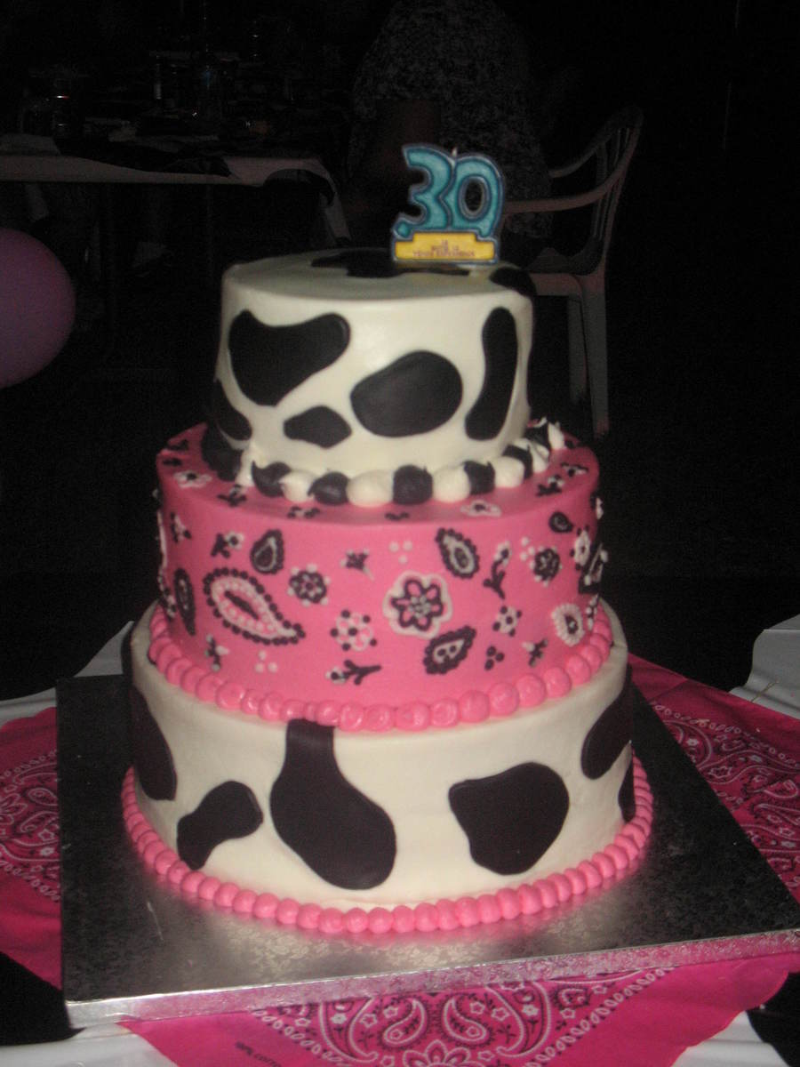 Hot Pink And Cow Print With Bandana Cakecentral Com