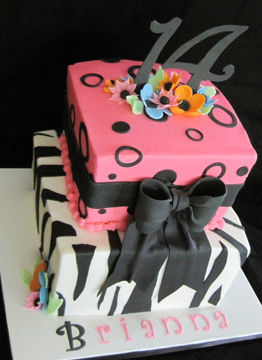 Zebra/pink/bows on Cake Central