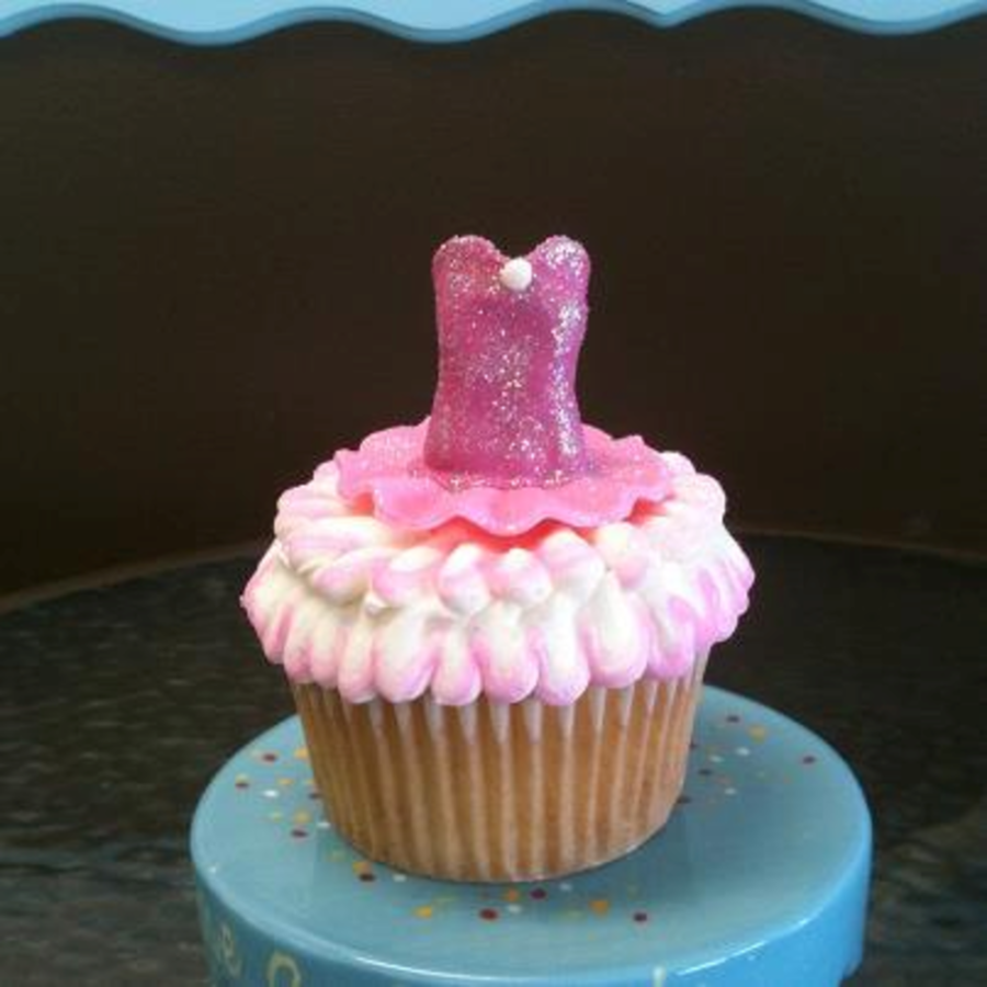 Ballerina Costume Cupcake Topper Made Of Gumpaste Tutu Is Slightly Different Shade Of Pink Dusted With Disco Dust And At The Center Of T on Cake Central