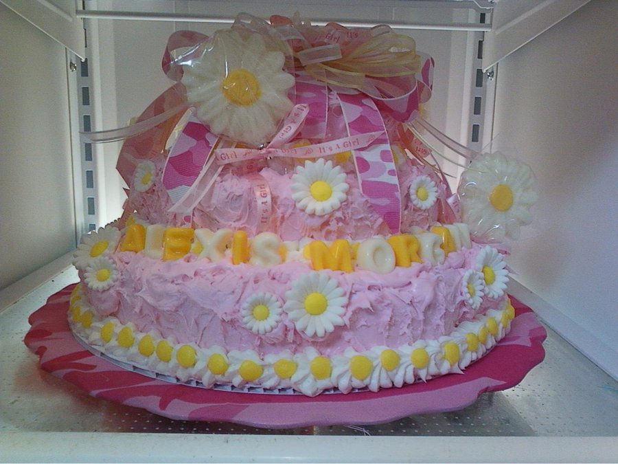 Pink Camo And Daisy Baby Shower Cake on Cake Central