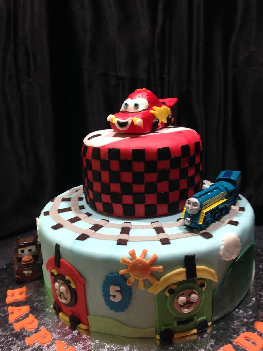 Lightening Mcqueen And Thomas The Train Birthday Cake