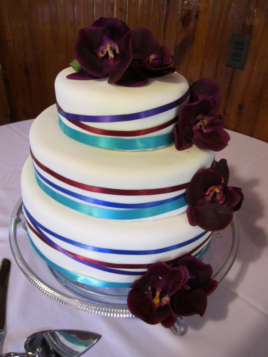 wedding cake with ribbon ribbon wedding cake cakecentral 26957