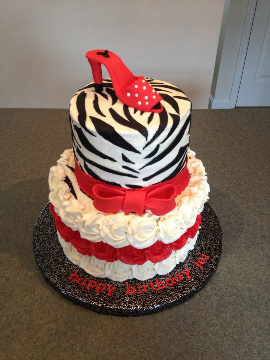 Red And Black Zebra on Cake Central