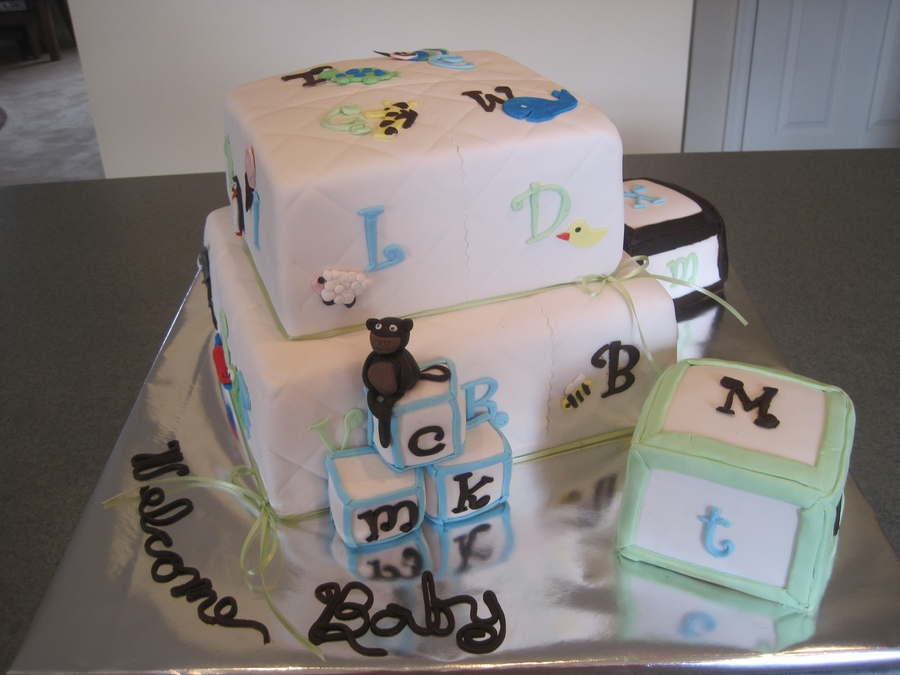 Alphabet Quilt Baby Shower  on Cake Central