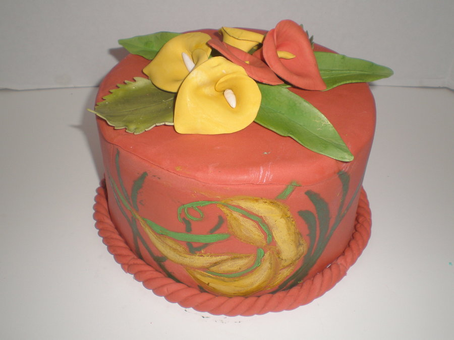 Hand Painted Calla Lily Cake on Cake Central