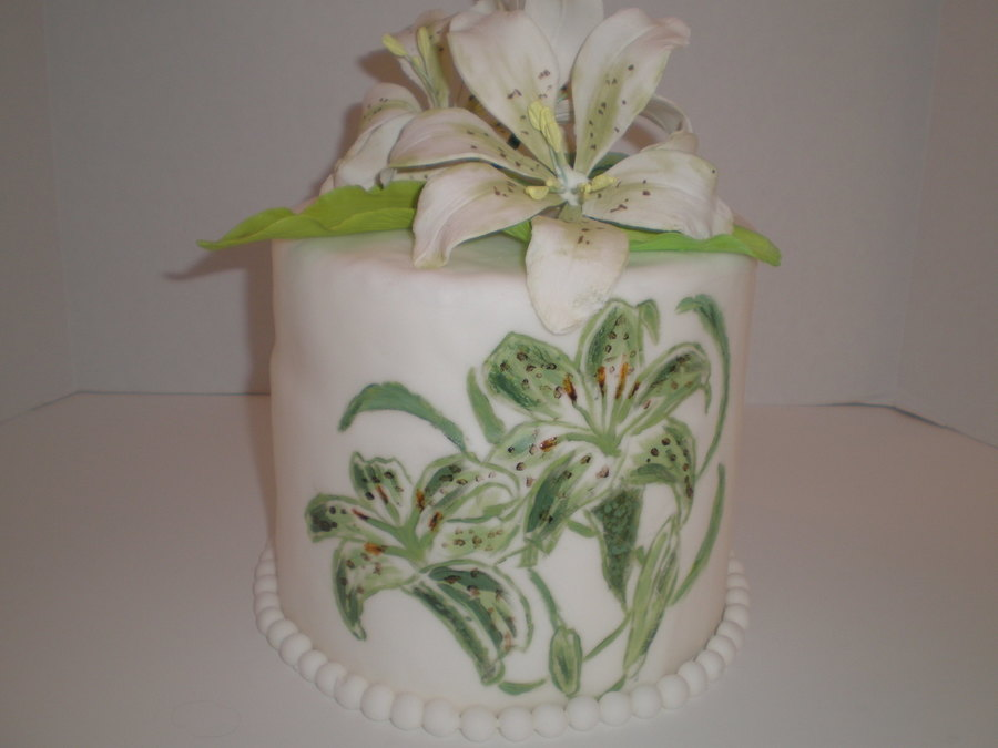 Hand Painted Lily Cake on Cake Central