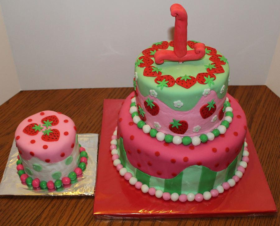 Fondant Strawberry Shortcake Birthday Cake