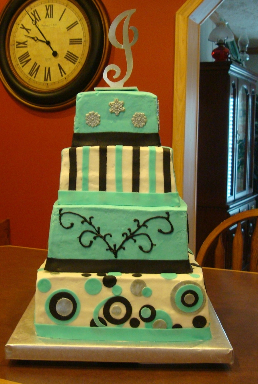 Tiffany Blue, Black, And Silver Wedding Cake  on Cake Central