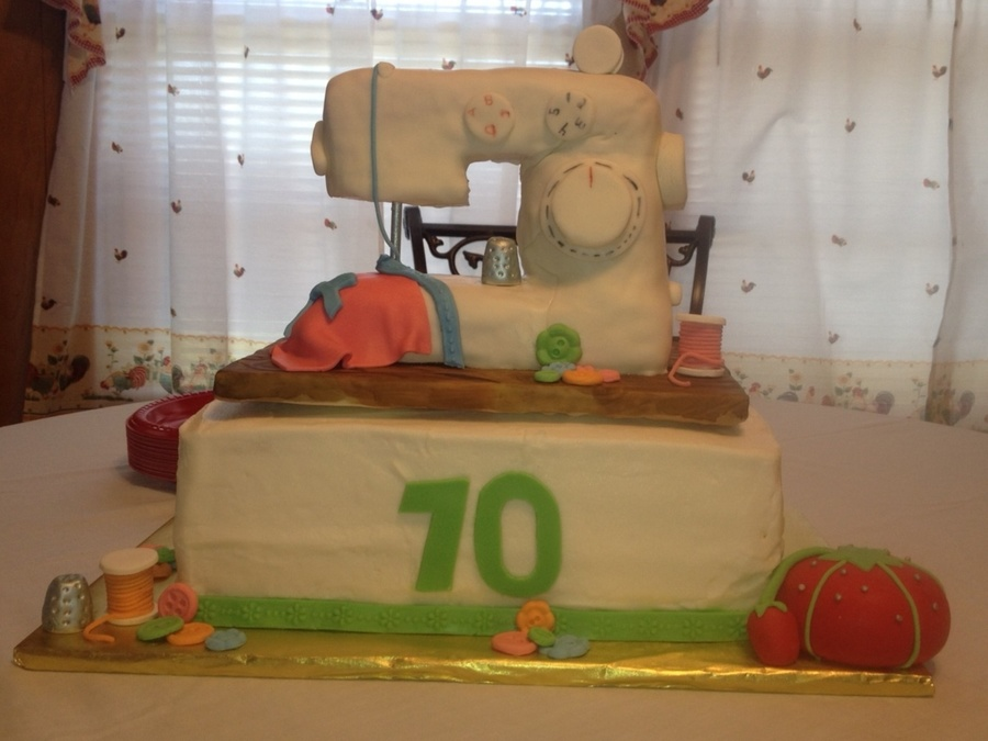 70Th Birthday Cake Sewing Machine Is Rice Krispy on Cake Central