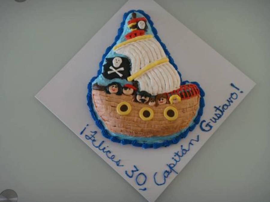 Pirate Ship With Six On Board on Cake Central